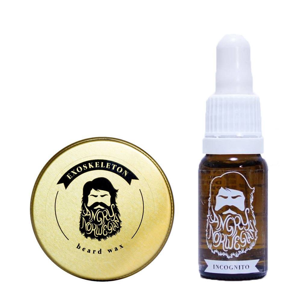 Angry Norwegian Unscented Beard Wax and Oil Bundle